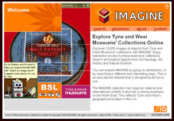 Screenshot of the imagine homepage